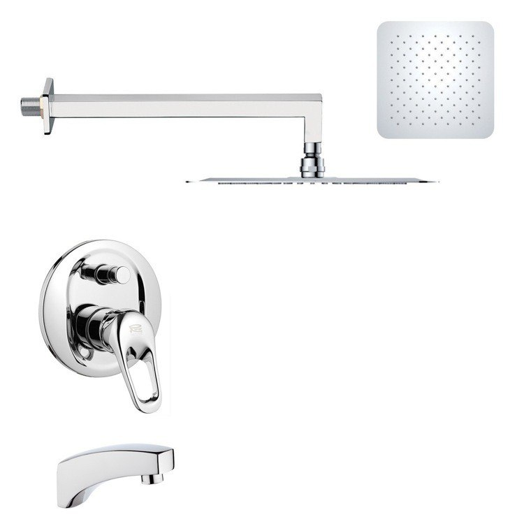 REMER TSF2276 PELEO CHROME MODERN SQUARE TUB AND RAIN SHOWER FAUCET SET