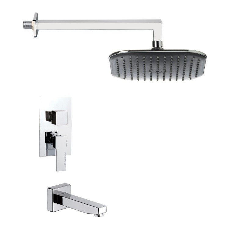REMER TSF2281 PELEO POLISHED CHROME MODERN SQUARE RAIN SHOWER SYSTEM