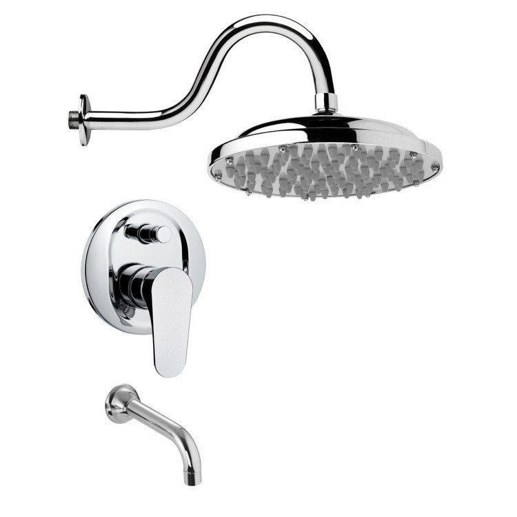REMER TSF2285 PELEO SLEEK MODERN POLISHED CHROME TUB AND RAIN SHOWER FAUCET SET