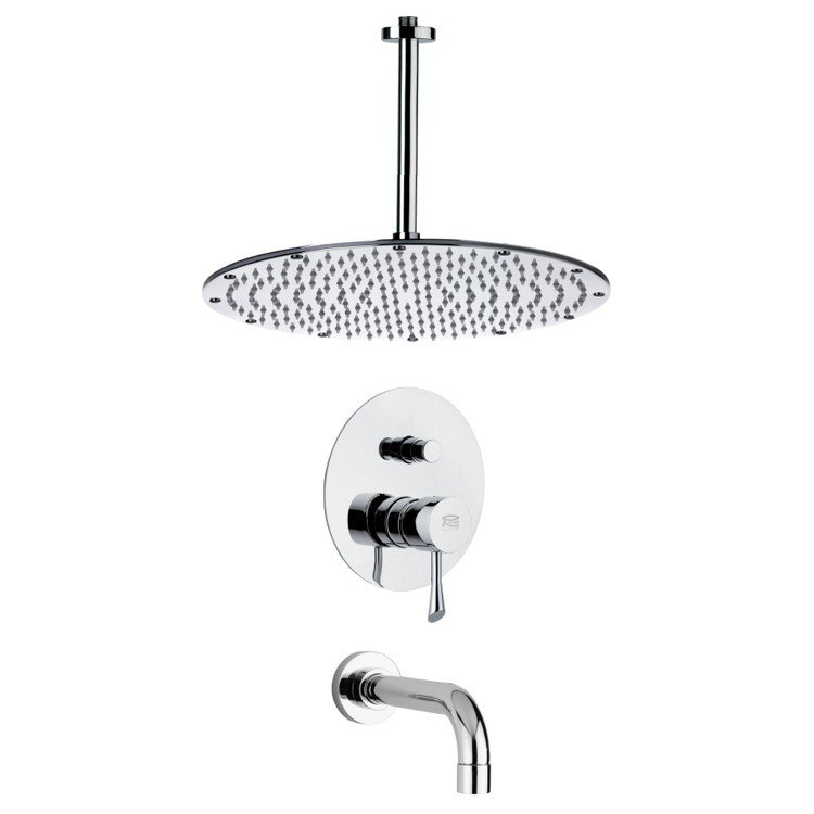 REMER TSF2294 PELEO SLEEK CONTEMPORARY CHROME TUB AND SHOWER FAUCET