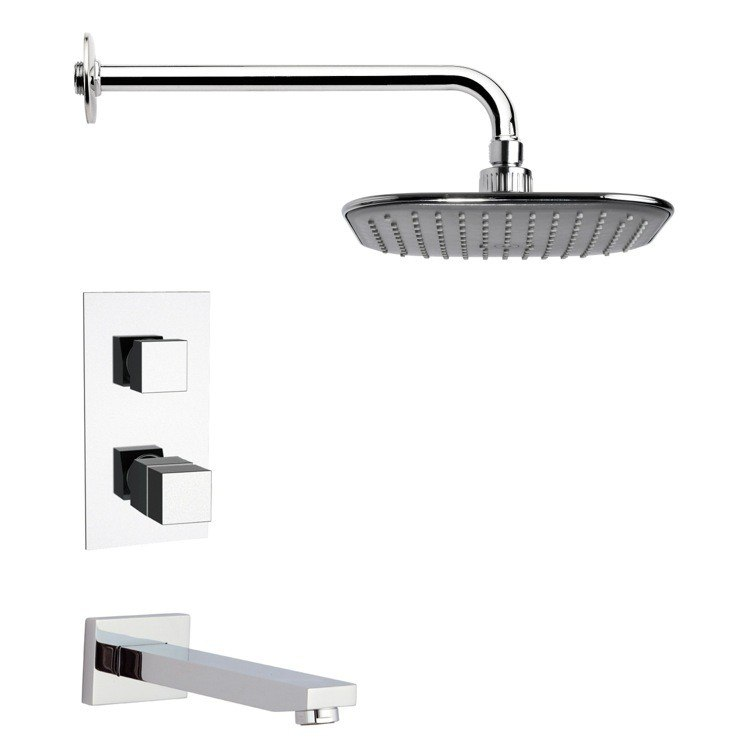 REMER TSF2400 PELEO THERMOSTATIC MODERN CHROME TUB AND SHOWER FAUCET SET