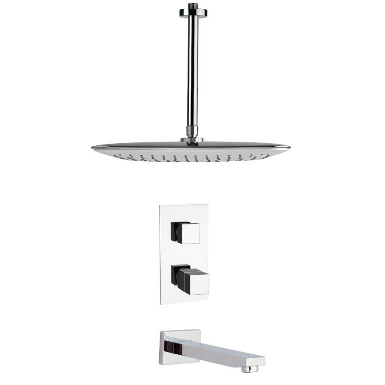 REMER TSF2401 PELEO THERMOSTATIC MODERN CHROME TUB AND SHOWER FAUCET SET
