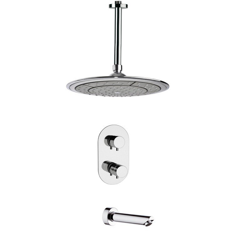 REMER TSF2405 PELEO MODERN THERMOSTATIC CHROME TUB AND SHOWER FAUCET SET