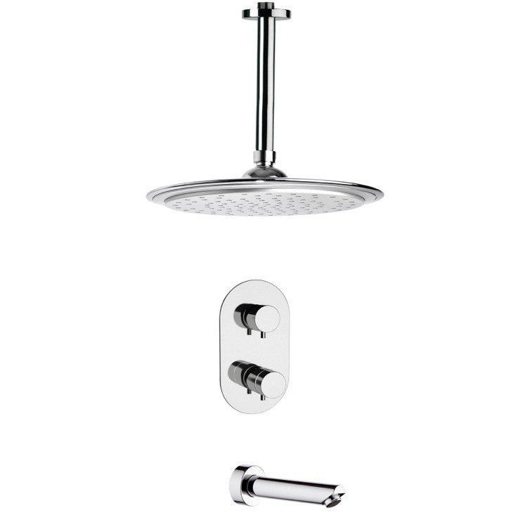 REMER TSF2406 PELEO MODERN THERMOSTATIC CHROME TUB AND SHOWER FAUCET SET