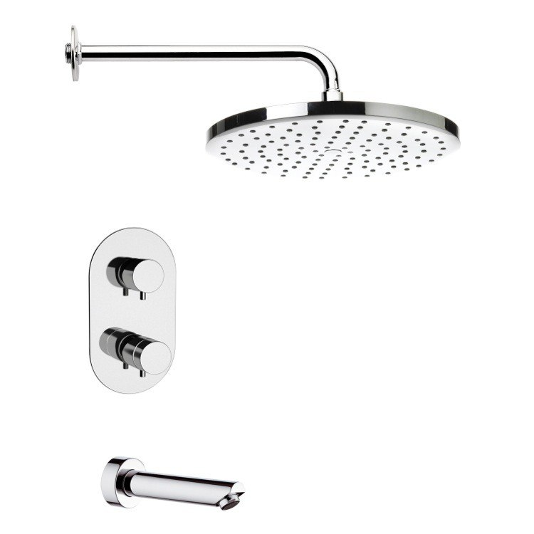 REMER TSF2408 PELEO THERMOSTATIC CHROME TUB AND SHOWER FAUCET SET