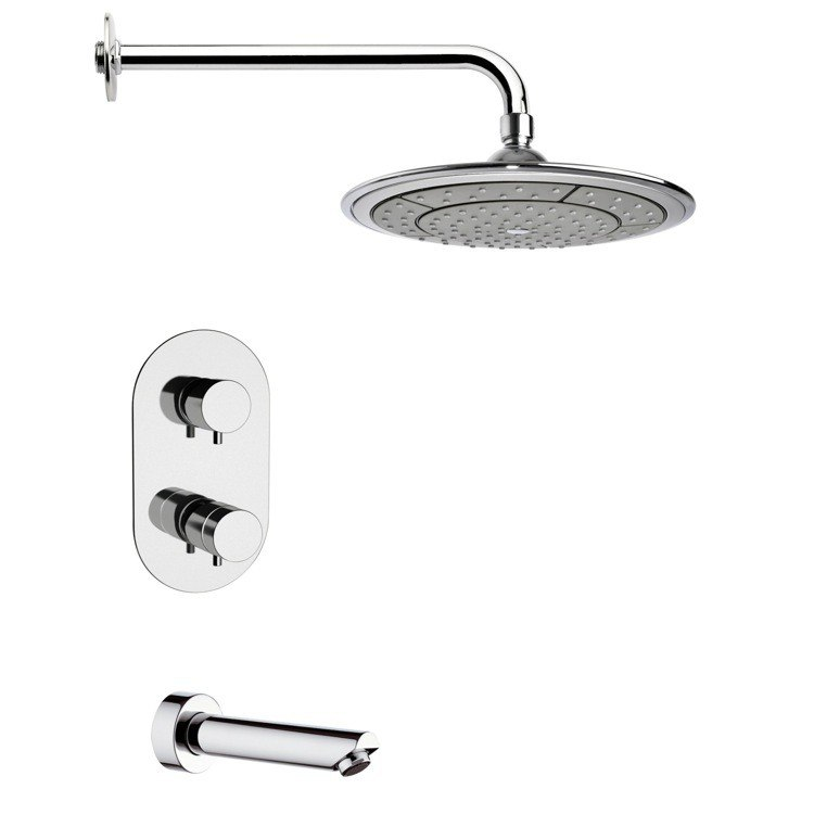 REMER TSF2409 PELEO THERMOSTATIC CHROME TUB AND SHOWER FAUCET SET