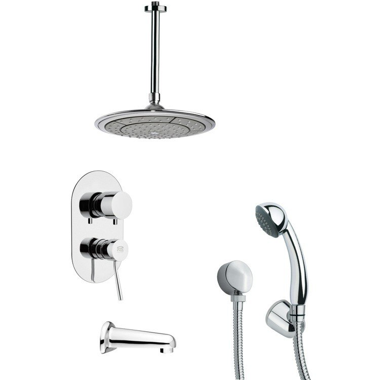 REMER TSH4000 TYGA ROUND MODERN TUB AND SHOWER FAUCET WITH HANDHELD SHOWER IN CHROME