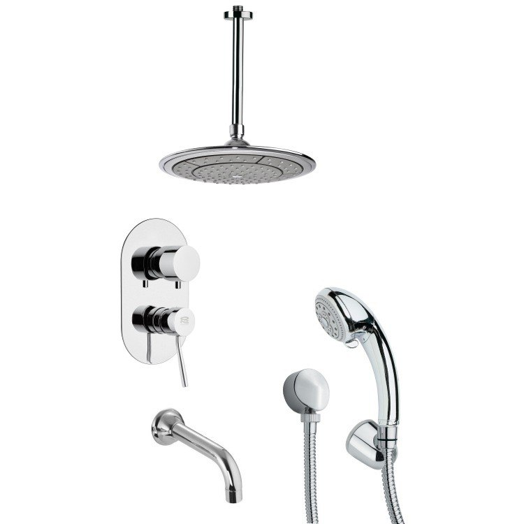 REMER TSH4001 TYGA POLISHED CHROME TUB AND SHOWER FAUCET SET WITH HAND SHOWER