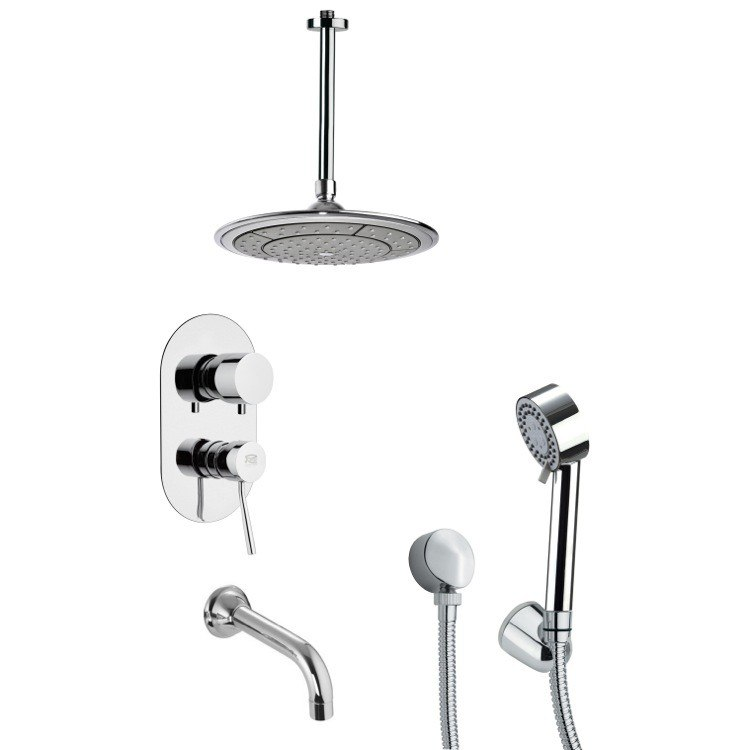 REMER TSH4002 TYGA CHROME TUB AND SHOWER FAUCET WITH 2 FUNCTION HAND SHOWER