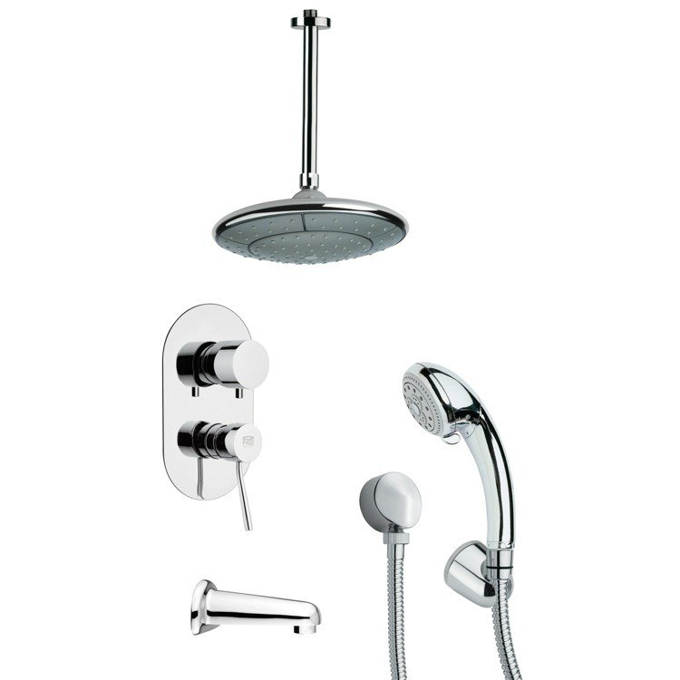 REMER TSH4005 TYGA MODERN TUB AND SHOWER FAUCET WITH MULTI FUNCTION HAND SHOWER IN CHROME