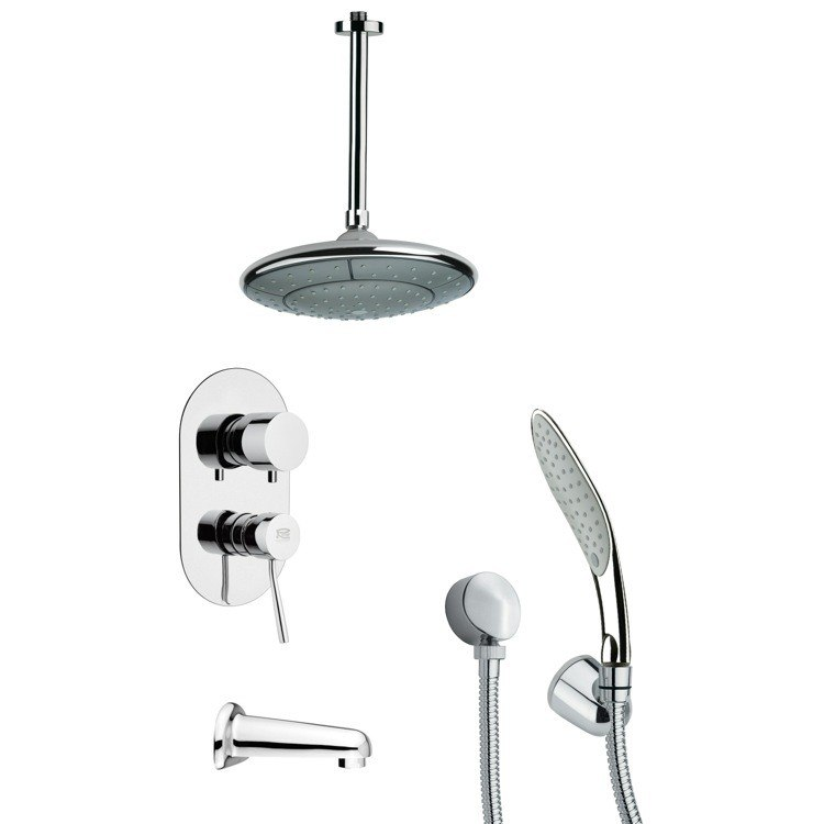 REMER TSH4006 TYGA CHROME TUB AND SHOWER FAUCET SET WITH HANDHELD SHOWER