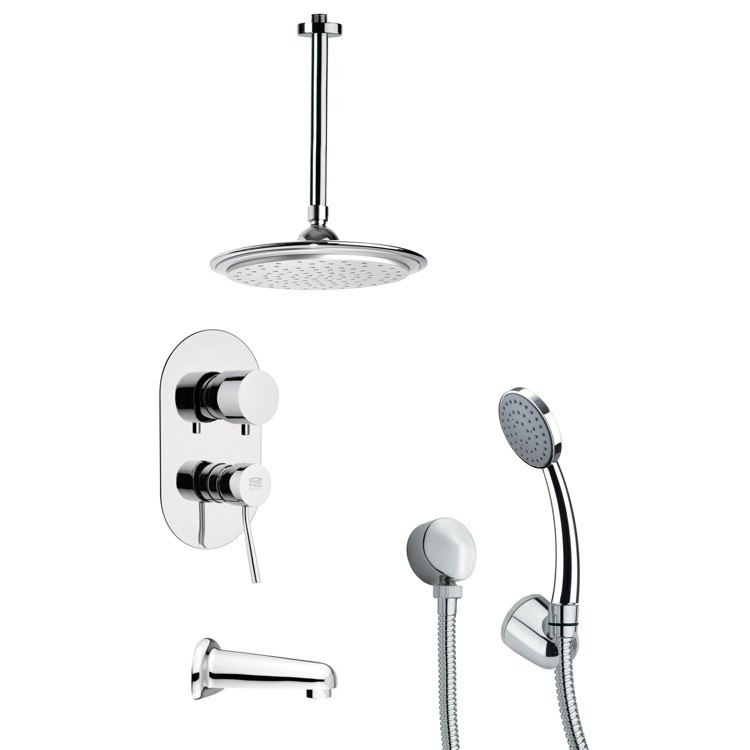 REMER TSH4008 TYGA POLISHED CHROME TUB AND SHOWER FAUCET WITH HAND SHOWER