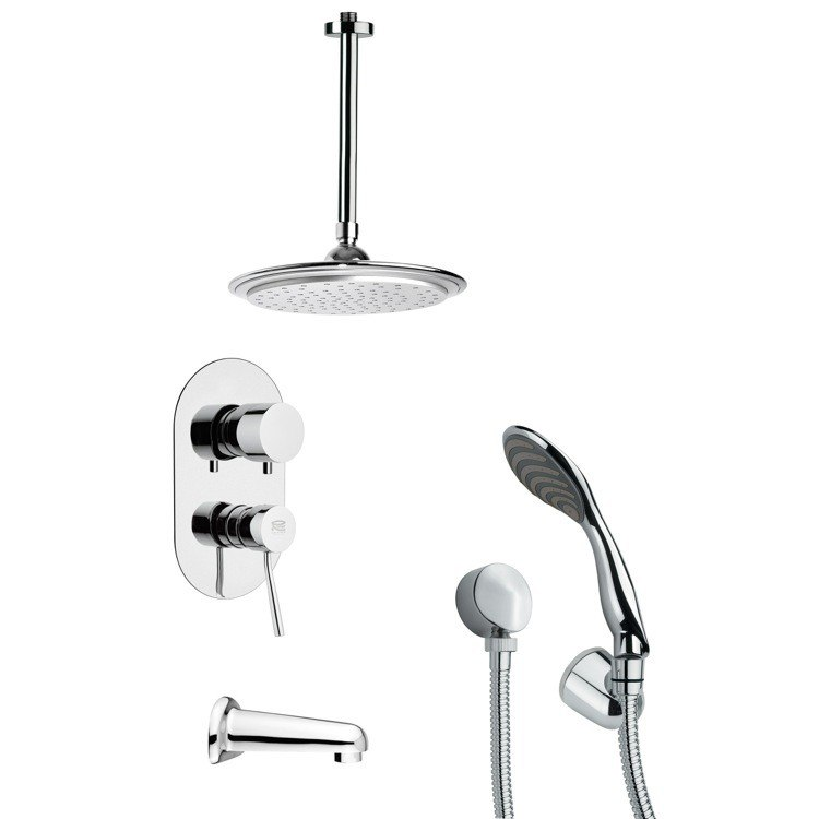 REMER TSH4009 TYGA MODERN TUB AND SHOWER FAUCET SET WITH HANDHELD SHOWER IN CHROME