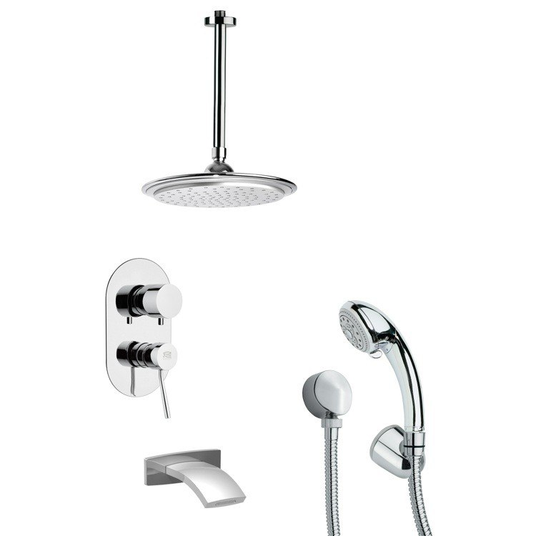 REMER TSH4012 TYGA MODERN TUB AND SHOWER FAUCET WITH MULTI FUNCTION HAND SHOWER IN CHROME