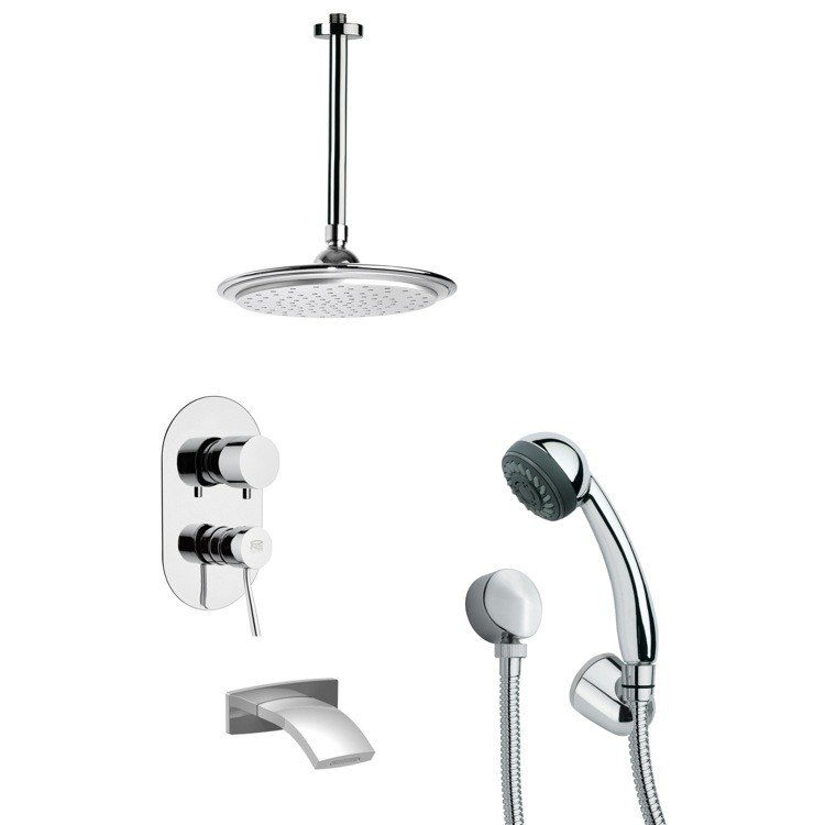 REMER TSH4013 TYGA TUB AND SHOWER FAUCET SET WITH MULTI FUNCTION HAND SHOWER IN CHROME
