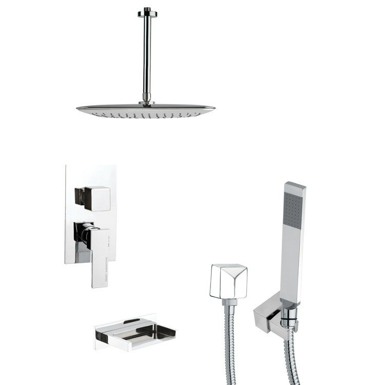 REMER TSH4018 TYGA SQUARE TUB AND SHOWER FAUCET SET WITH HAND SHOWER IN CHROME