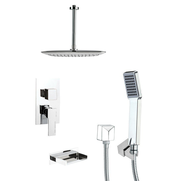 REMER TSH4019 TYGA CONTEMPORARY SQUARE CHROME SHOWER SYSTEM