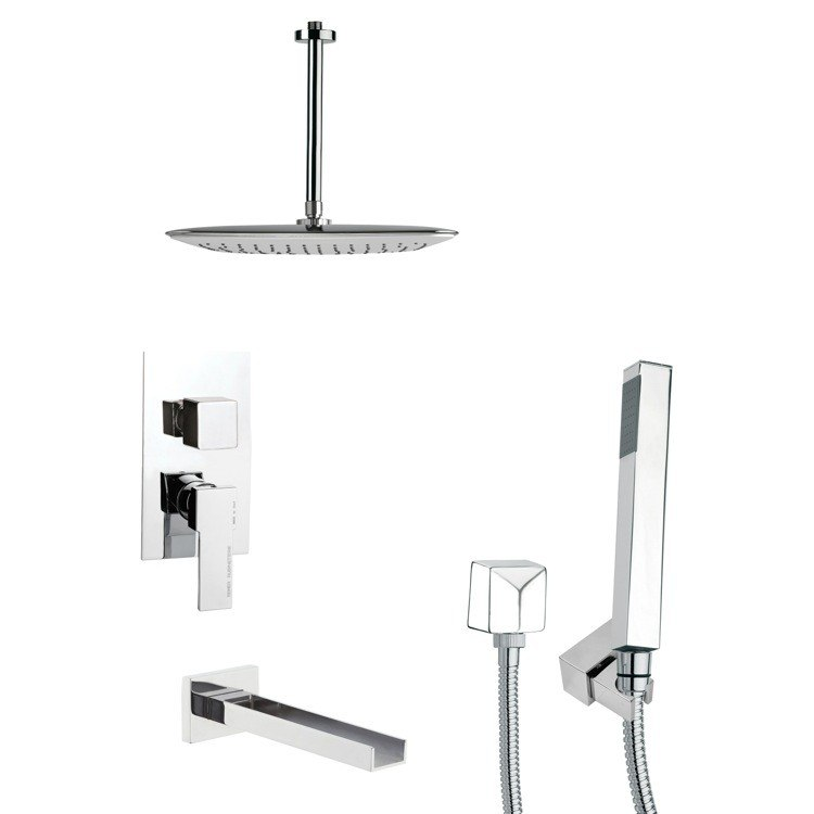 REMER TSH4020 TYGA SQUARE CHROME TUB AND SHOWER FAUCET WITH HANDHELD SHOWER