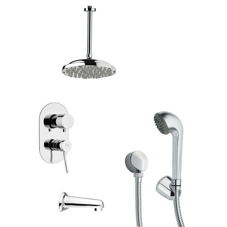 REMER TSH4023 TYGA CONTEMPORARY TUB AND SHOWER FAUCET SET WITH HAND SHOWER IN CHROME