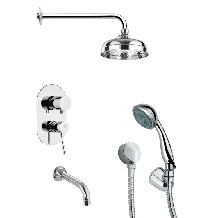 REMER TSH4026 TYGA ROUND CHROME TUB AND SHOWER FAUCET WITH HANDHELD SHOWER