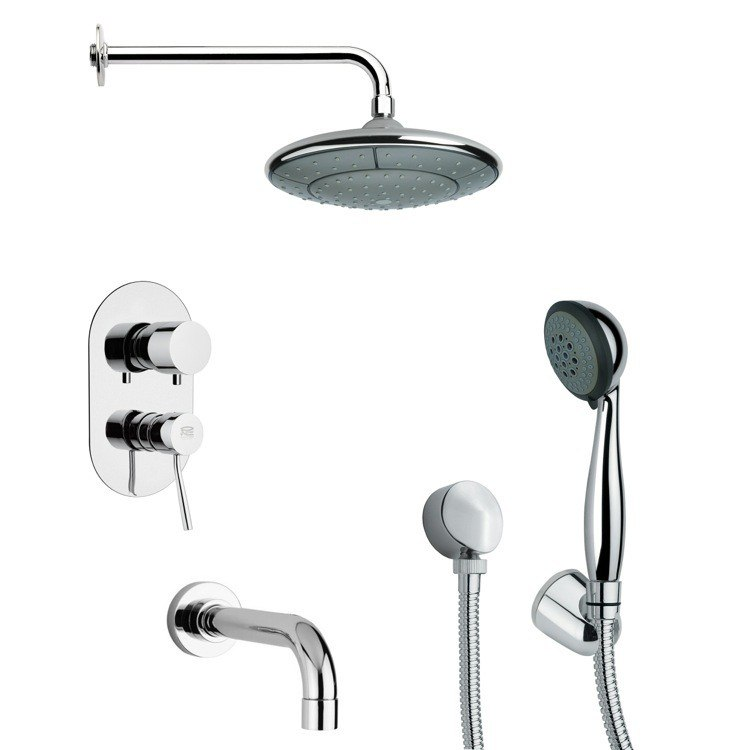REMER TSH4030 TYGA POLISHED CHROME TUB AND SHOWER FAUCET WITH HANDHELD SHOWER