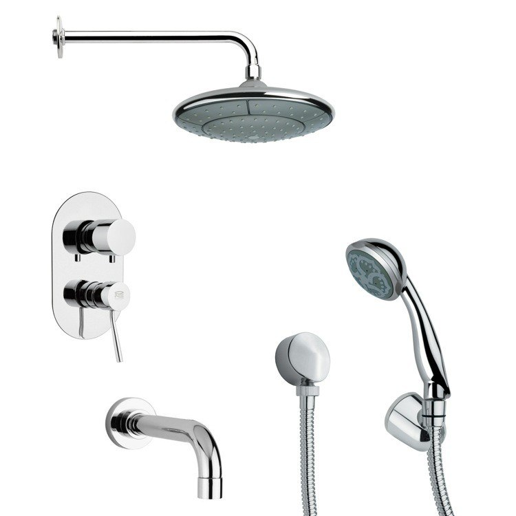 REMER TSH4031 TYGA MODERN CHROME TUB AND SHOWER FAUCET SET WITH HAND SHOWER