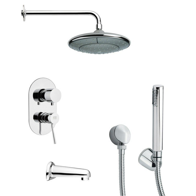REMER TSH4032 TYGA ROUND TUB AND SHOWER FAUCET SET WITH HANDHELD SHOWER IN CHROME