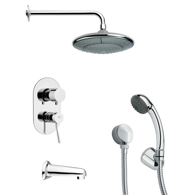 REMER TSH4033 TYGA ROUND TUB AND SHOWER FAUCET WITH HAND SHOWER IN CHROME