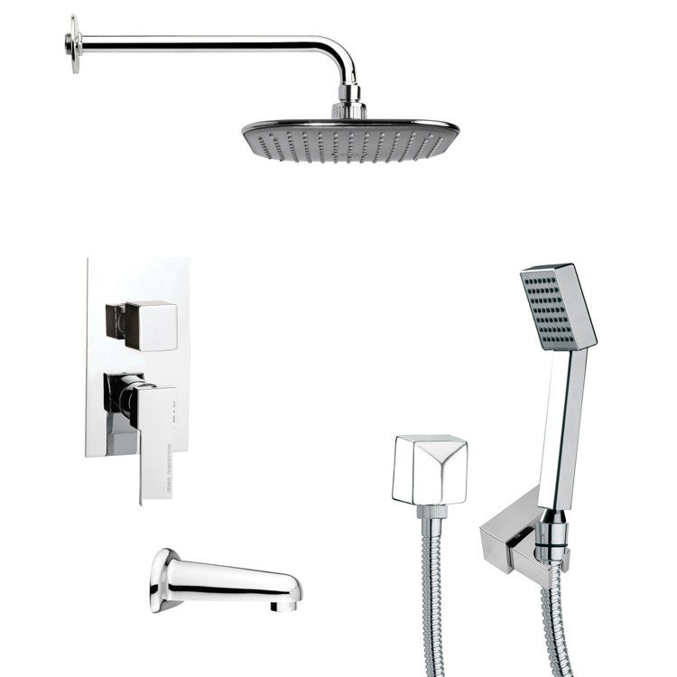 REMER TSH4034 TYGA SQUARE TUB AND SHOWER FAUCET WITH HANDHELD SHOWER IN CHROME
