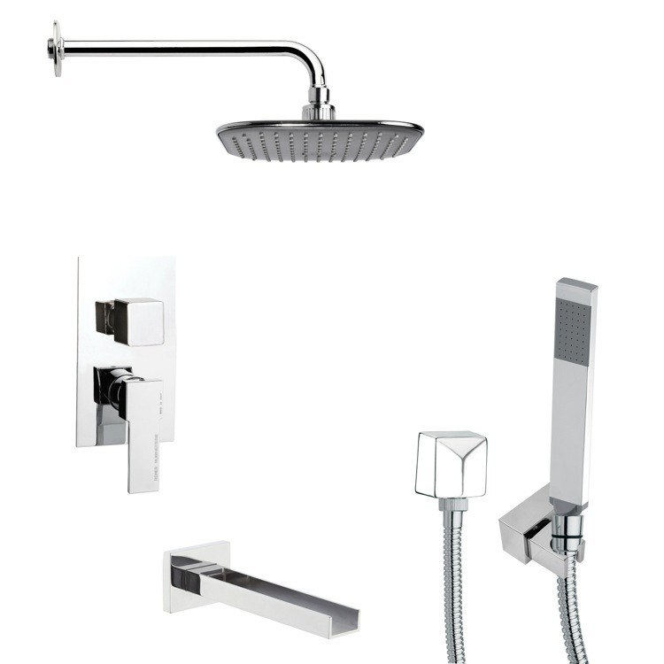 REMER TSH4035 TYGA CONTEMPORARY SQUARE TUB AND SHOWER FAUCET WITH HAND SHOWER IN CHROME