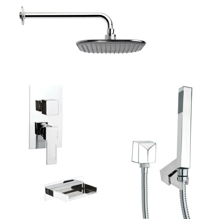REMER TSH4037 TYGA SQUARE TUB AND SHOWER FAUCET WITH HAND SHOWER IN CHROME