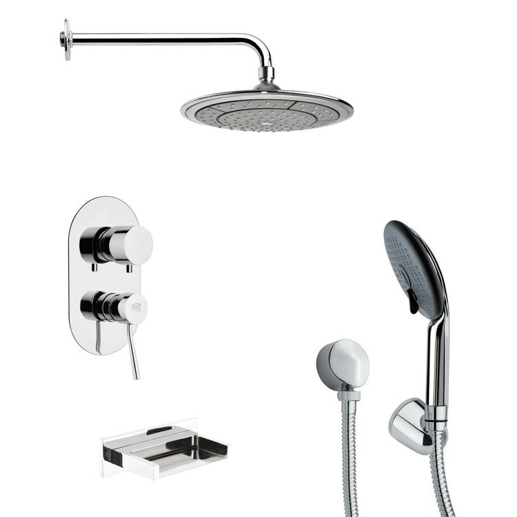 REMER TSH4039 TYGA TUB AND SHOWER FAUCET WITH MULTI FUNCTION HAND SHOWER IN CHROME