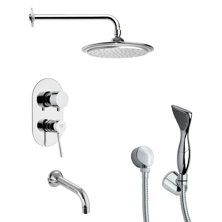 REMER TSH4042 TYGA CONTEMPORARY ROUND TUB AND SHOWER FAUCET WITH HAND SHOWER IN CHROME