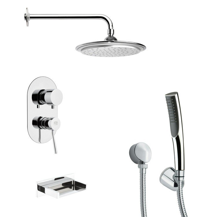 REMER TSH4043 TYGA ROUND MODERN CHROME TUB AND SHOWER FAUCET WITH HAND SHOWER