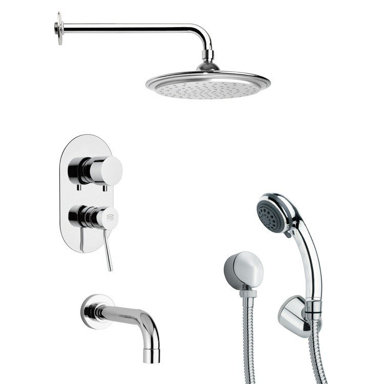REMER TSH4044 TYGA ROUND TUB AND SHOWER FAUCET WITH MULTI FUNCTION HAND SHOWER IN CHROME