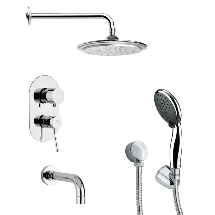 REMER TSH4045 TYGA TUB AND SHOWER FAUCET SET WITH MULTI FUNCTION HAND SHOWER IN CHROME