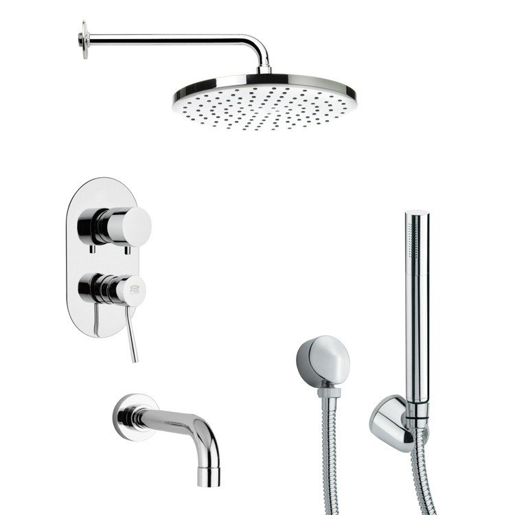 REMER TSH4046 TYGA CONTEMPORARY TUB AND SHOWER FAUCET WITH HAND SHOWER IN CHROME
