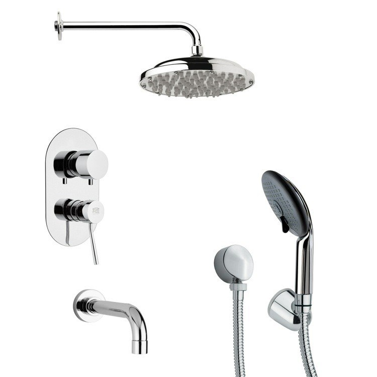 REMER TSH4050 TYGA SLEEK TUB AND SHOWER FAUCET WITH MULTI FUNCTION HANDHELD SHOWER IN CHROME