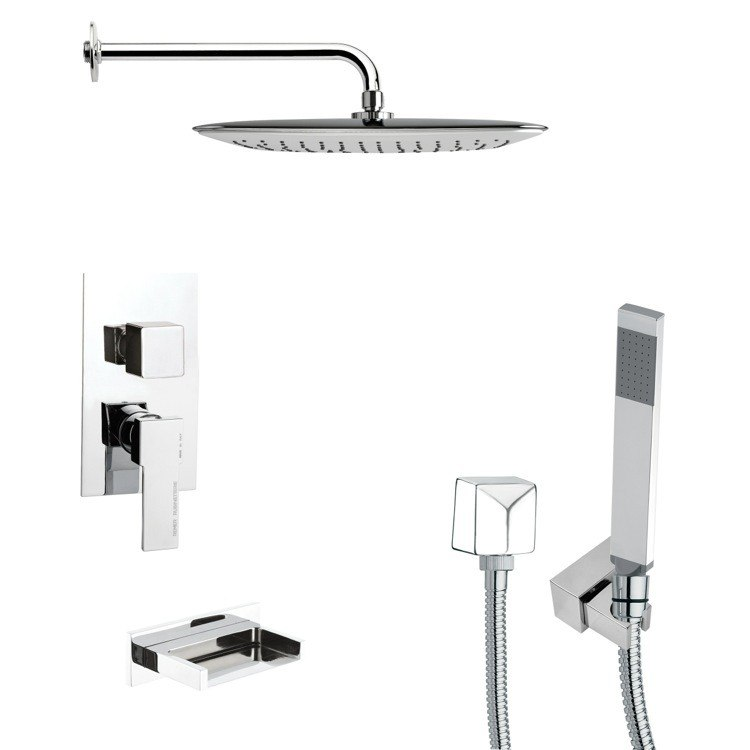 REMER TSH4057 TYGA SQUARE CHROME TUB AND SHOWER FAUCET WITH HANDHELD SHOWER