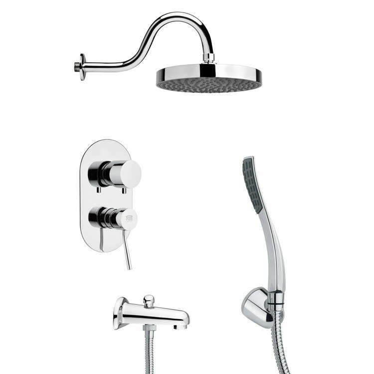 REMER TSH4062 TYGA ROUND SLEEK TUB AND SHOWER FAUCET WITH HANDHELD SHOWER IN CHROME