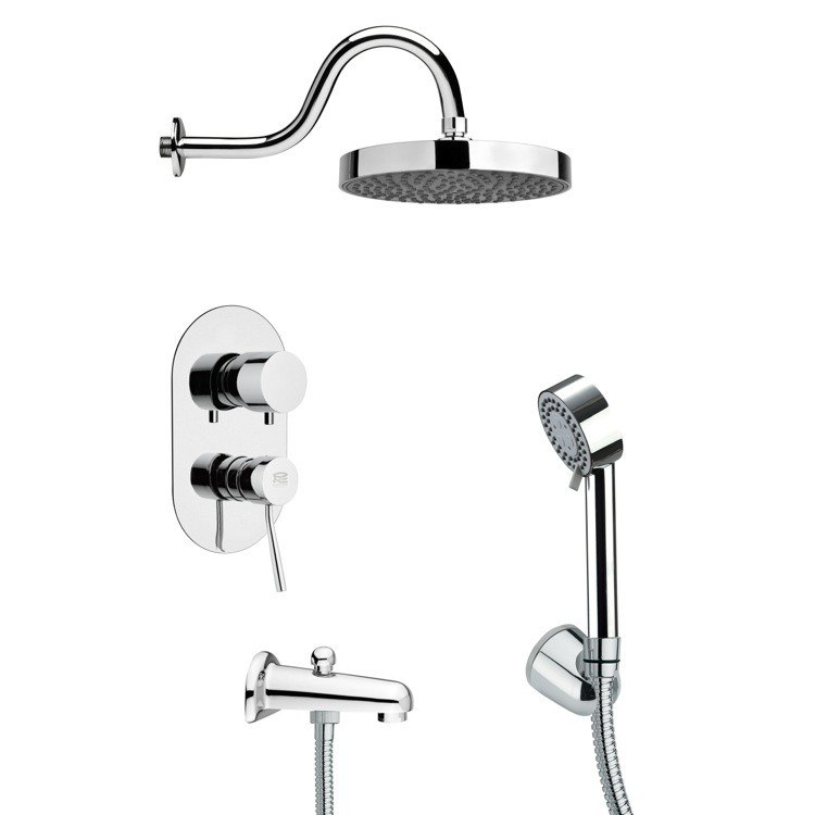 REMER TSH4063 TYGA ROUND SLEEK TUB AND SHOWER FAUCET SET WITH HAND SHOWER IN CHROME