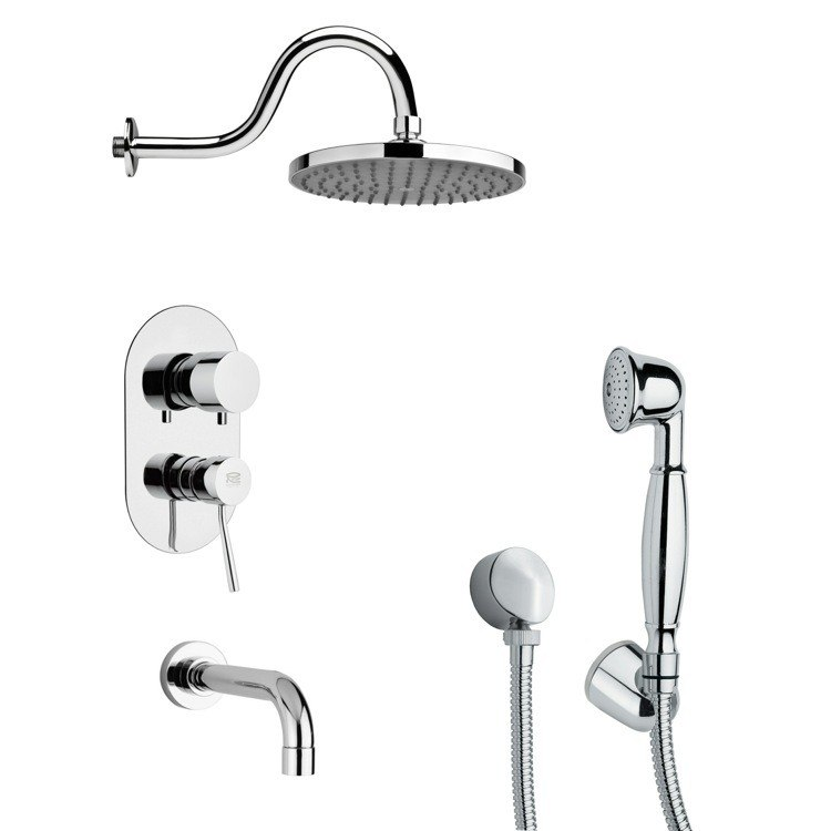 REMER TSH4066 TYGA ROUND CHROME TUB AND SHOWER FAUCET WITH HAND SHOWER