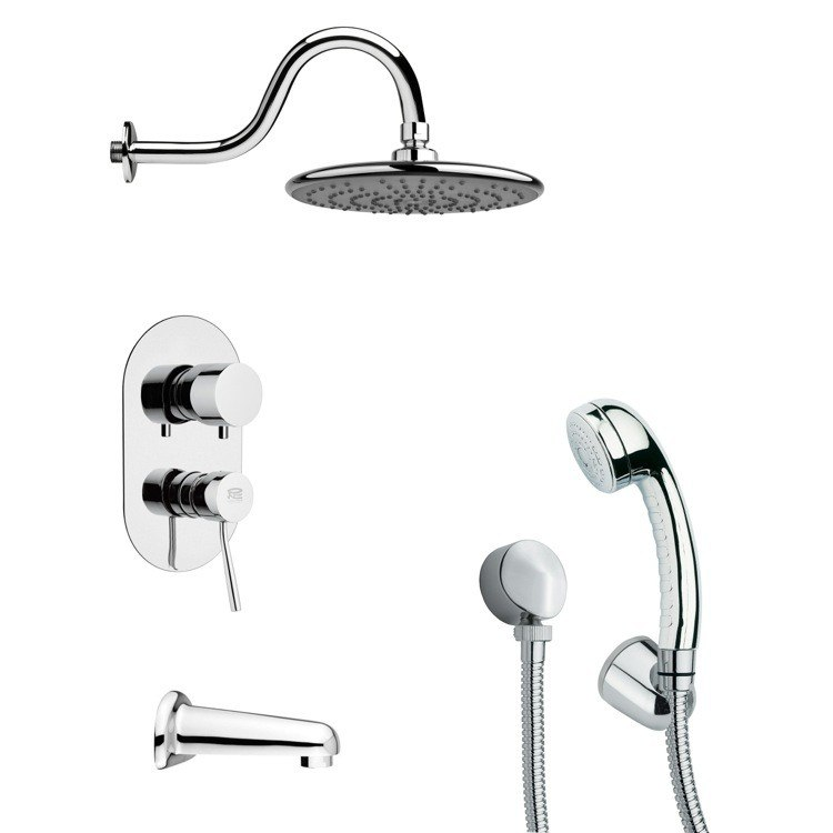 REMER TSH4071 TYGA CONTEMPORARY TUB AND SHOWER FAUCET WITH HANDHELD SHOWER IN CHROME