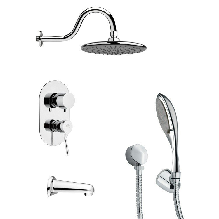 REMER TSH4072 TYGA SLEEK TUB AND SHOWER FAUCET WITH MULTI FUNCTION HAND SHOWER IN CHROME