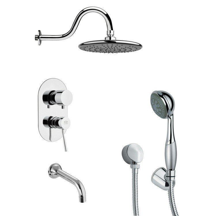 REMER TSH4073 TYGA ROUND CONTEMPORARY TUB AND SHOWER FAUCET WITH HAND SHOWER IN CHROME