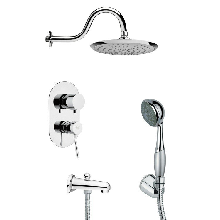 REMER TSH4078 TYGA MODERN ROUND TUB AND SHOWER FAUCET SET WITH HAND SHOWER IN CHROME