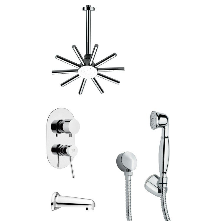 REMER TSH4088 TYGA SLEEK CONTEMPORARY ROUND SHOWER SYSTEM IN CHROME