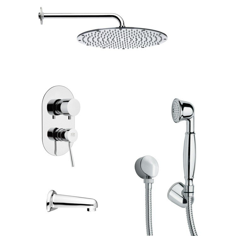 REMER TSH4090 TYGA SLEEK TUB AND SHOWER FAUCET SET WITH HANDHELD SHOWER IN CHROME