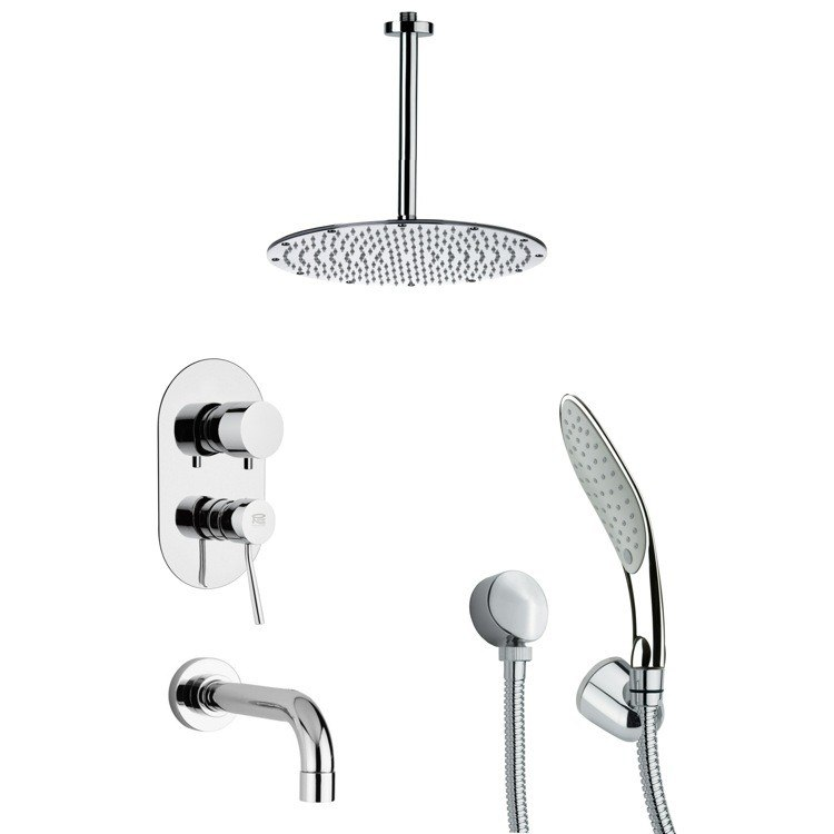 REMER TSH4094 TYGA CHROME ROUND TUB AND SHOWER FAUCET WITH HANDHELD SHOWER