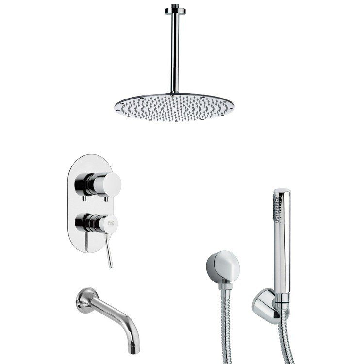 REMER TSH4095 TYGA CHROME ROUND TUB AND SHOWER FAUCET SET WITH HANDHELD SHOWER